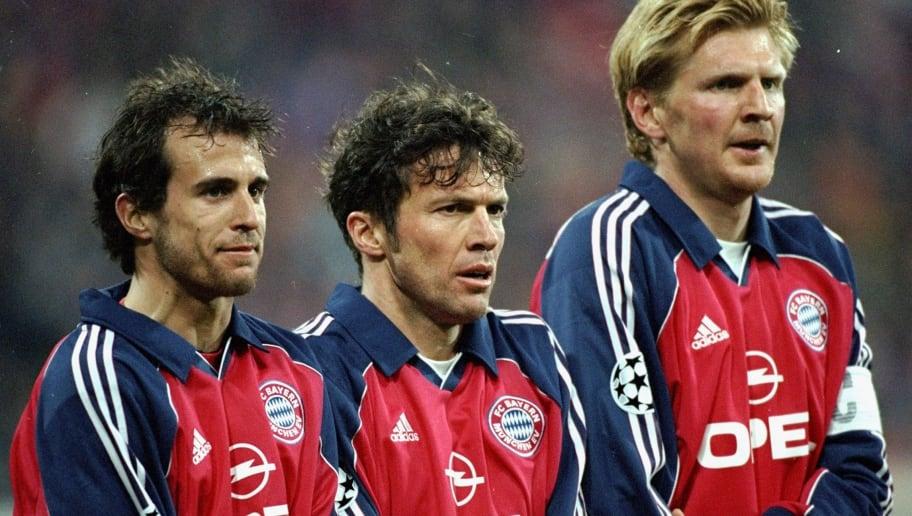Lothar Matthaus, Mehmet Scholl and Steffan Effenberg of Bayern Munich