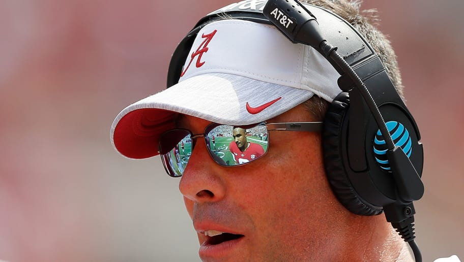 TUSCALOOSA, AL - SEPTEMBER 29:  Dan Enos, quarterbacks coach of the Alabama Crimson Tide, converses with Jalen Hurts #2 during the game against the Louisiana Ragin Cajuns at Bryant-Denny Stadium on September 29, 2018 in Tuscaloosa, Alabama.  (Photo by Kevin C. Cox/Getty Images)
