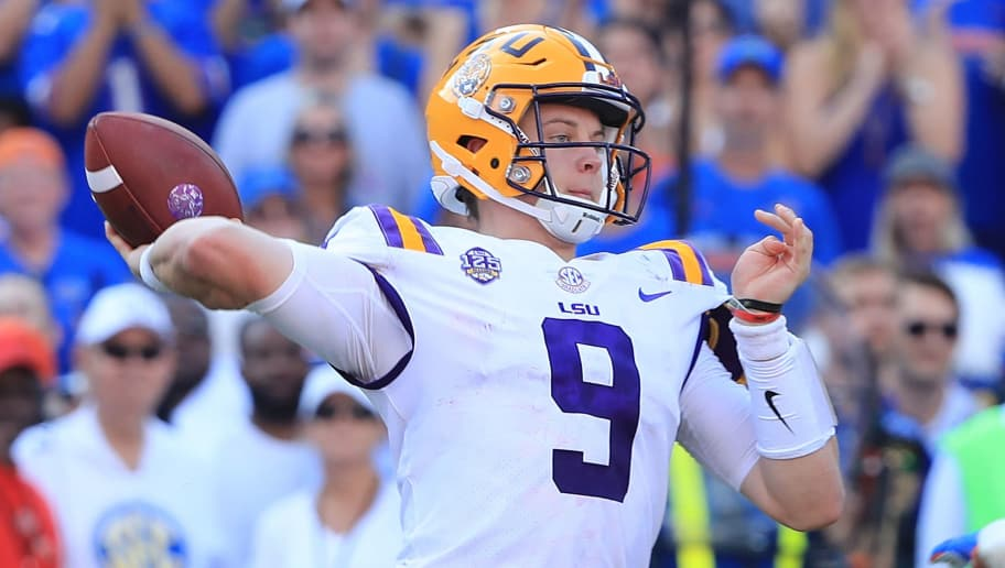 GAINESVILLE, FL - OCTOBER 06: Joe Burrow #9 of the LSU Tigers attempts a pass during the game against the Florida Gators at Ben Hill Griffin Stadium on October 6, 2018 in Gainesville, Florida.  (Photo by Sam Greenwood/Getty Images)