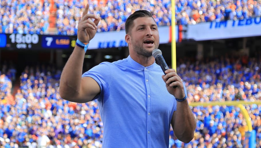 GAINESVILLE, FL - OCTOBER 06:  Tim Tebow is inducted into the Ring of Honor during the game between the Florida Gators and the LSU Tigersat Ben Hill Griffin Stadium on October 6, 2018 in Gainesville, Florida.  (Photo by Sam Greenwood/Getty Images)