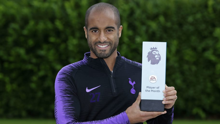 ENFIELD, ENGLAND - SEPTEMBER 11: Lucas Moura of Tottenham Hotspur wins the EA Sports Player of the Month Award at Tottenham Hotspur Training Centre on September 11, 2018 in Enfield, England. (Photo by Henry Browne/Getty Images for Premier League)