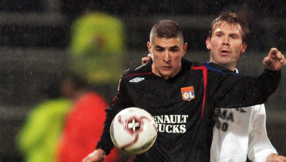 Lyon's French forward Karim Benzema (L)