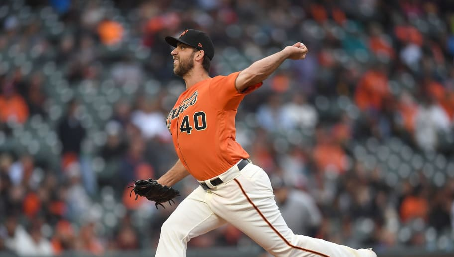 SAN FRANCISCO, CA - JULY 27:  Madison Bumgarner #40 of the San Francisco Giants pitches against the Milwaukee Brewers in the top of the first inning at AT&T Park on July 27, 2018 in San Francisco, California.  (Photo by Thearon W. Henderson/Getty Images)
