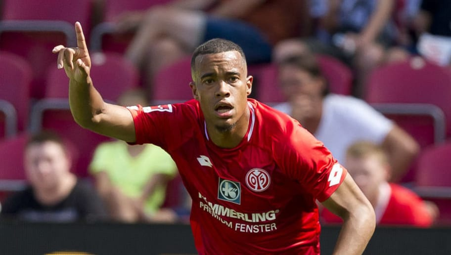 MAINZ, GERMANY - AUGUST 05: Robin Quaison of Mainz gestures during the Opel Cup match between Mainz 05 and AC Florence at Opel Arena on August 5, 2018 in Mainz, Germany. (Photo by TF-Images/Getty Images)