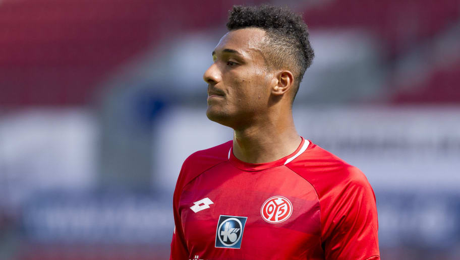 MAINZ, GERMANY - AUGUST 05: Karim Onisiwo of Mainz looks on during the Opel Cup match between Mainz 05 and AC Florence at Opel Arena on August 5, 2018 in Mainz, Germany. (Photo by TF-Images/Getty Images)