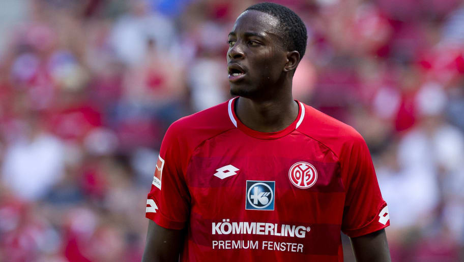 MAINZ, GERMANY - AUGUST 05: Jean-Philippe Mateta of Mainz looks on during the Opel Cup match between Mainz 05 and AC Florence at Opel Arena on August 5, 2018 in Mainz, Germany. (Photo by TF-Images/Getty Images)