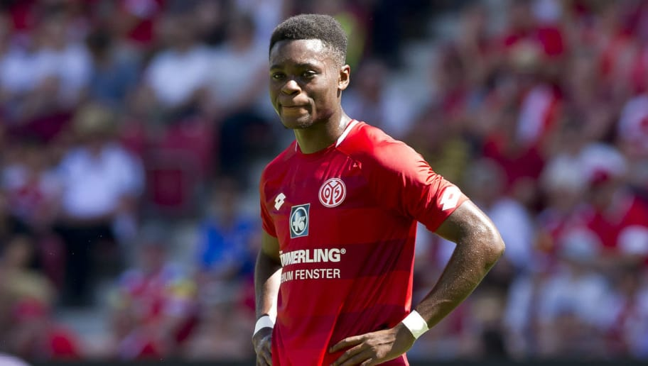 MAINZ, GERMANY - AUGUST 05: Ridle Baku of Mainz looks on during the Opel Cup match bweteen Mainz 05 and Ahtletic Bilbao at Opel Arena on August 5, 2018 in Mainz, Germany. (Photo by TF-Images/Getty Images)