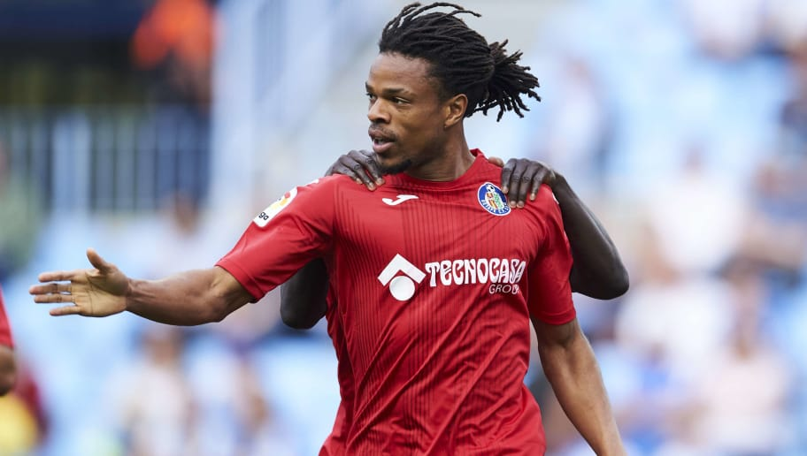 MALAGA, SPAIN - MAY 19:  Loic Remy of Getafe CF celebrates after scoring goal during the La Liga match between Malaga CF and Getafe CF at Estadio La Rosaleda on May 19, 2018 in Malaga, Spain.  (Photo by Aitor Alcalde/Getty Images)