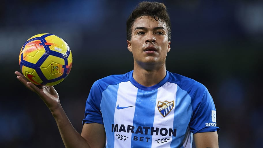 MALAGA, SPAIN - DECEMBER 01:  Adalberto Penaranda of Malaga CF looks on during the La Liga match between Malaga and Levante at Estadio La Rosaleda on December 1, 2017 in Malaga, Spain.  (Photo by Aitor Alcalde Colomer/Getty Images)