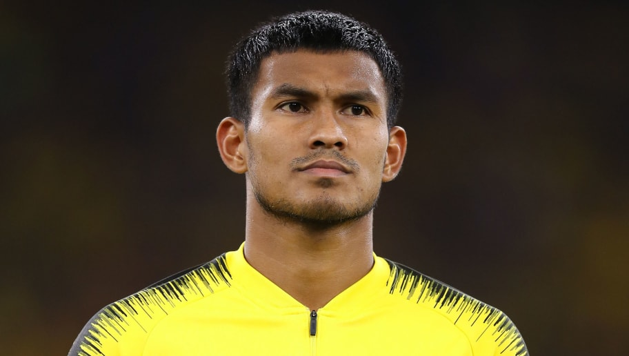 KUALA LUMPUR, MALAYSIA - DECEMBER 01: Shahrul Saad #3 of Malaysia in action prior to the AFF Suzuki Cup semi final between Malaysia and Thailand at Bukit Jalil National Stadium on December 1, 2018 in Kuala Lumpur, Malaysia. (Photo by Pakawich Damrongkiattisak/Getty Images)