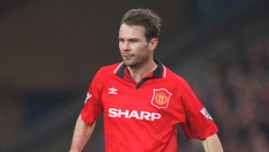 11 FEB 1995:  BRIAN MCCLAIR OF MANCHESTER UNITED IN ACTION DURING A PREMIERSHIP MATCH AGAINST MANCHESTER CITY AT MAINE ROAD. Mandatory Credit: Shaun Botterill/ALLSPORT