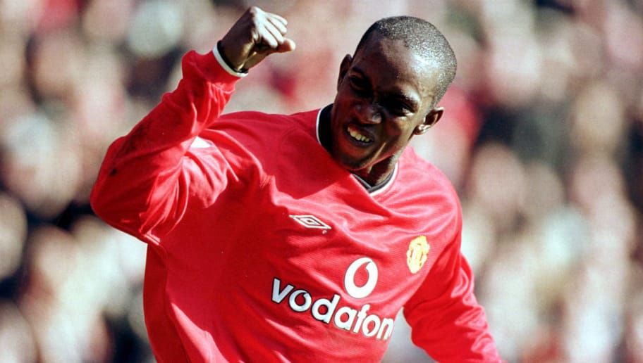 25 Feb 2001: Dwight Yorke of Man Utd celebrates after scoring his second goal during the FA Carling Premiership match between Manchester United and  Arsenal at Old Trafford, Manchester. Mandatory Credit: Gary M. Prior/ALLSPORT