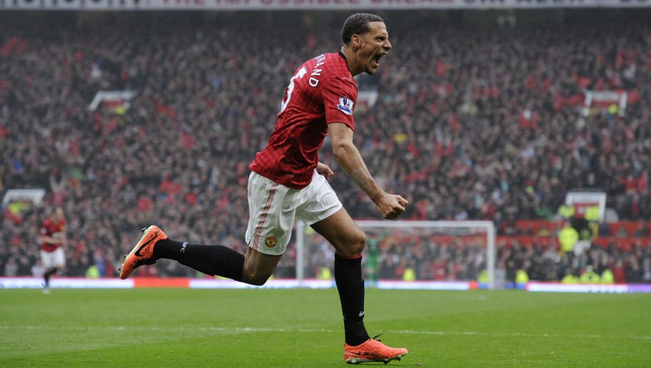 MANCHESTER, UNITED KINGDOM - MAY 12:  Rio Ferdinand celebrates his goal during Manchester United versus Swansea City FA Premier League match, the final home game for Sir Alex Ferguson as United manager, at Old Trafford on May 12th 2013 in Manchester (Photo by Tom Jenkins/Getty Images)