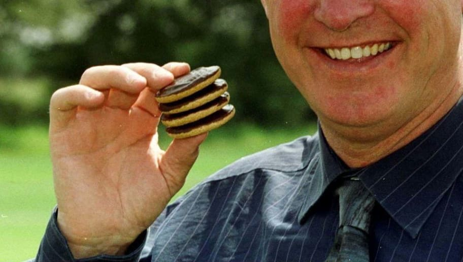 27 Jul 2000:   Sir Alex Ferguson manager of Manchester United during the press launch for a 5 Million Youth Academy sponsorship deal between Manchester United and McVitie's Jaffa Cakes at the Manchester United training ground in Carrington, Manchester.Mandatory Credit: Gary M. Prior/ALLSPORT