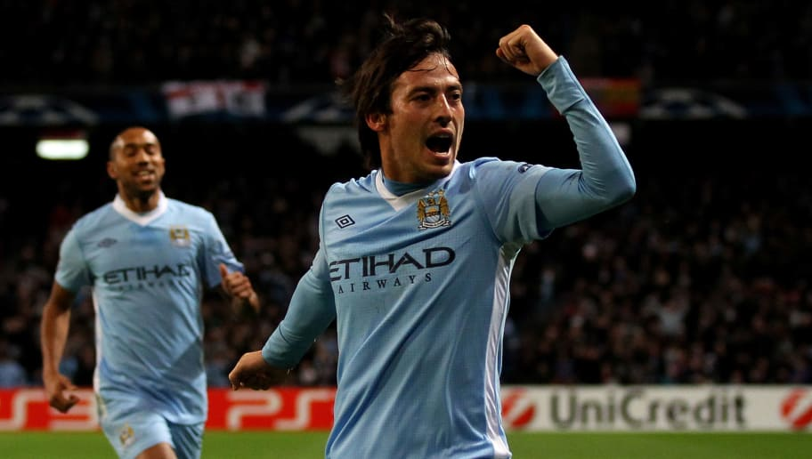 MANCHESTER, ENGLAND - DECEMBER 07:  David Silva of Manchester City celebrates scoring the opening goal during the UEFA Champions League Group A match between Manchester City and FC Bayern Muenchen at the Etihad Stadium on December 7, 2011 in Manchester, England.  (Photo by Alex Livesey/Getty Images)