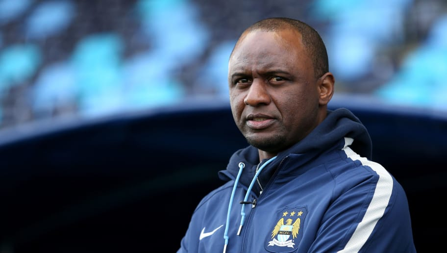 MANCHESTER, ENGLAND - FEBRUARY 24:  Reserve team manager of Manchester City FC Patrick Vieira looks on during the UEFA Youth League Round of 16 match between Manchester City FC and FC Schalke 04 at City Football Academy on February 24, 2015 in Manchester, England.  (Photo by Jan Kruger/Getty Images)
