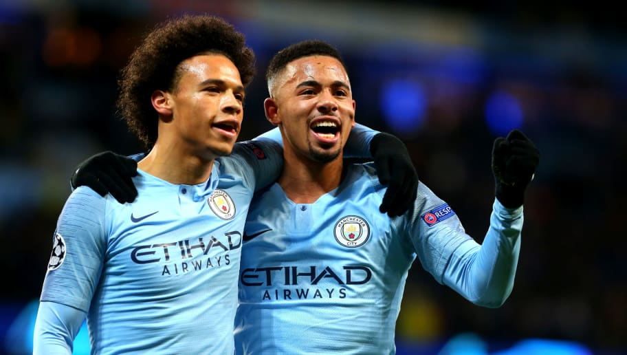 MANCHESTER, ENGLAND - DECEMBER 12: Leroy Sane of Manchester City celebrates scoring with Gabriel Jesus of Manchester City during the UEFA Champions League Group F match between Manchester City and TSG 1899 Hoffenheim at Etihad Stadium on December 12, 2018 in Manchester, United Kingdom. (Photo by Chloe Knott - Danehouse/Getty Images)