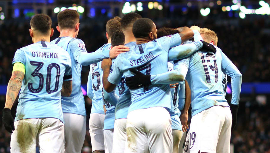 MANCHESTER, ENGLAND - DECEMBER 12: Manchester City celebrate Leroy Sane's goal during the UEFA Champions League Group F match between Manchester City and TSG 1899 Hoffenheim at Etihad Stadium on December 12, 2018 in Manchester, United Kingdom. (Photo by Chloe Knott - Danehouse/Getty Images)