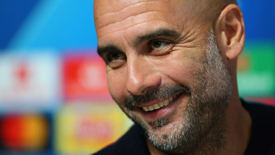 MANCHESTER, ENGLAND - NOVEMBER 06:  Josep Guardiola, Manager of Manchester City attends a Manchester City press conference at Manchester City Football Academy on November 6, 2018 in Manchester, England.  (Photo by Alex Livesey/Getty Images)
