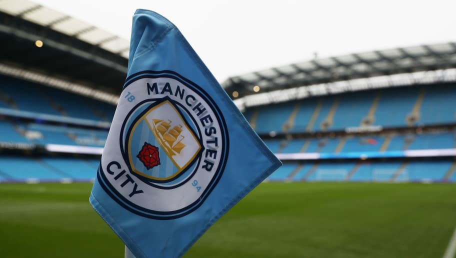 MANCHESTER, ENGLAND - DECEMBER 23:  General view inside the stadium with a close up of the corner flag prior to the Premier League match between Manchester City and AFC Bournemouth at Etihad Stadium on December 23, 2017 in Manchester, England.  (Photo by Matthew Lewis/Getty Images)