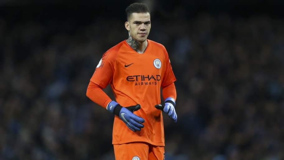 MANCHESTER, ENGLAND - DECEMBER 01: Ederson Moraes of Manchester City during the Premier League match between Manchester City and AFC Bournemouth at Etihad Stadium on December 1, 2018 in Manchester, United Kingdom. (Photo by James Baylis - AMA/Getty Images)