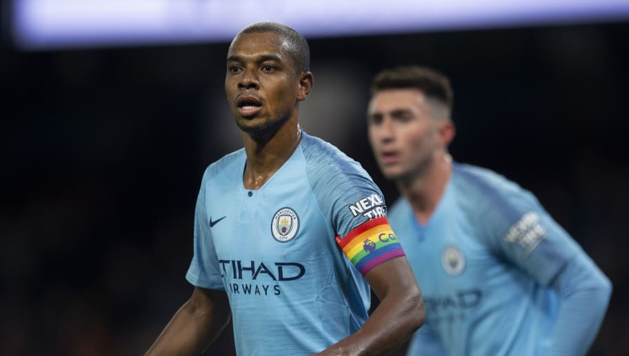 MANCHESTER, ENGLAND - DECEMBER 01: Manchester City captain Fernandinho wears a rainbow captain'u2019s armband to support LGBTQ rights during the Premier League match between Manchester City and AFC Bournemouth at Etihad Stadium on December 1, 2018 in Manchester, United Kingdom. (Photo by Visionhaus/Getty Images)