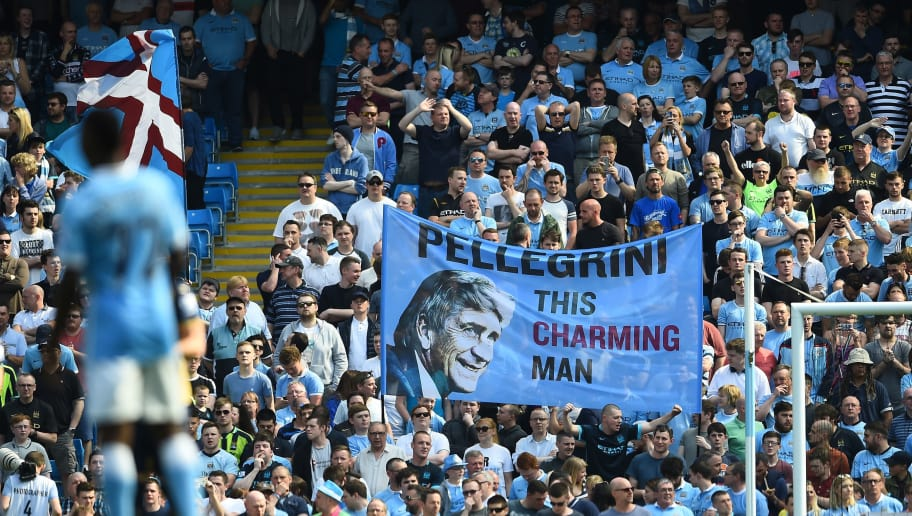 MANCHESTER, ENGLAND - MAY 08:  Manchester City fans show their support to Manuel Pellegrini, Manager of Manchester City during the Barclays Premier League match between Manchester City and Arsenal at the Etihad Stadium on May 8, 2016 in Manchester, England.  (Photo by Laurence Griffiths/Getty Images)