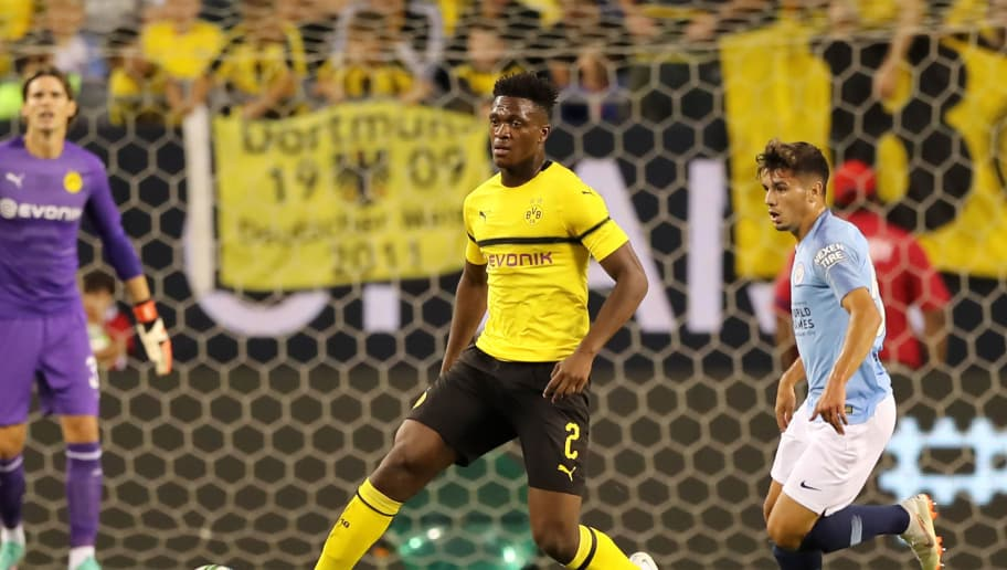 CHICAGO, IL - JULY 20:  Dan-Axel Zagadou #2 of Borussia Dortmund in action against the Manchester City during an International Champions Cup match at Soldier Field on July 20, 2018 in Chicago, Illinois.  (Photo by Elsa/Getty Images)