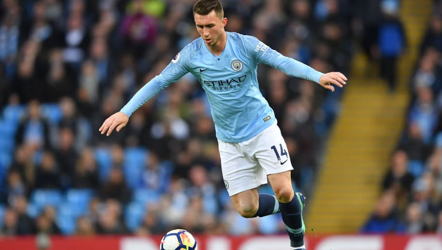 MANCHESTER, ENGLAND - MAY 09:  Aymeric Laporte of Manchester City in action during the Premier League match between Manchester City and Brighton and Hove Albion at Etihad Stadium on May 9, 2018 in Manchester, England.  (Photo by Mike Hewitt/Getty Images)