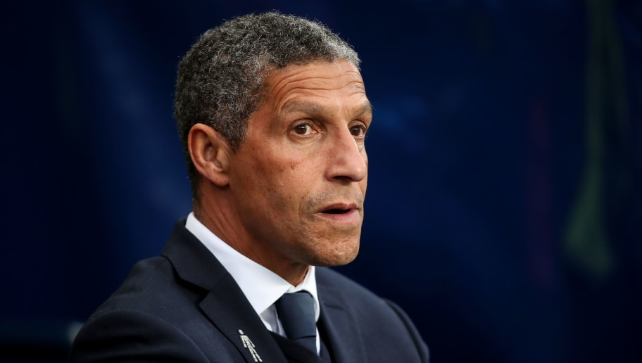 MANCHESTER, ENGLAND - MAY 09: Chris Hughton head coach / manager of Brighton & Hove Albion during the Premier League match between Manchester City and Brighton and Hove Albion at Etihad Stadium on May 9, 2018 in Manchester, England. (Photo by Robbie Jay Barratt - AMA/Getty Images)