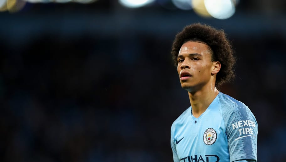 MANCHESTER, ENGLAND - MAY 09: Leroy Sane of Manchester City during the Premier League match between Manchester City and Brighton and Hove Albion at Etihad Stadium on May 9, 2018 in Manchester, England. (Photo by Robbie Jay Barratt - AMA/Getty Images)