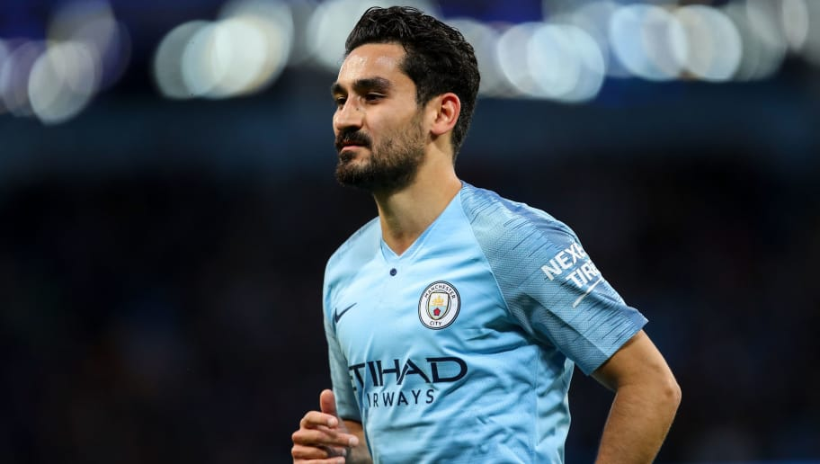 MANCHESTER, ENGLAND - MAY 09: Ilkay Gundogan of Manchester City during the Premier League match between Manchester City and Brighton and Hove Albion at Etihad Stadium on May 9, 2018 in Manchester, England. (Photo by Robbie Jay Barratt - AMA/Getty Images)