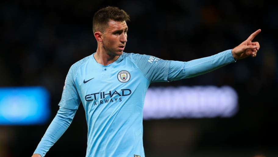 MANCHESTER, ENGLAND - MAY 09: Aymeric Laporte of Manchester City during the Premier League match between Manchester City and Brighton and Hove Albion at Etihad Stadium on May 9, 2018 in Manchester, England. (Photo by Robbie Jay Barratt - AMA/Getty Images)