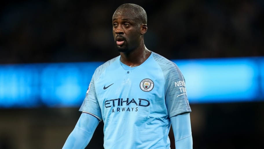 MANCHESTER, ENGLAND - MAY 09: Yaya Toure of Manchester City during the Premier League match between Manchester City and Brighton and Hove Albion at Etihad Stadium on May 9, 2018 in Manchester, England. (Photo by Robbie Jay Barratt - AMA/Getty Images)