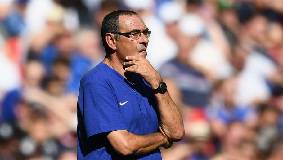 LONDON, ENGLAND - AUGUST 05:  Maurizio Sarri of Chelsea looks on during the FA Community Shield match between Manchester City and Chelsea at Wembley Stadium on August 5, 2018 in London, England.  (Photo by Clive Mason/Getty Images)