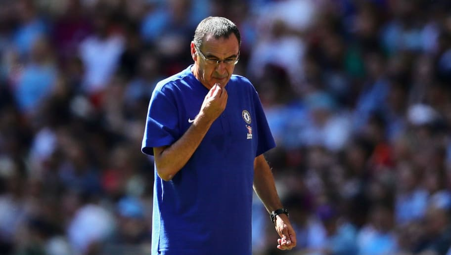 LONDON, ENGLAND - AUGUST 05: Chelsea manager Maurizio Sarri looks on during the FA Community Shield match between Manchester City and Chelsea at Wembley Stadium on August 5, 2018 in London, England.  (Photo by Chris Brunskill/Fantasista/Getty Images)