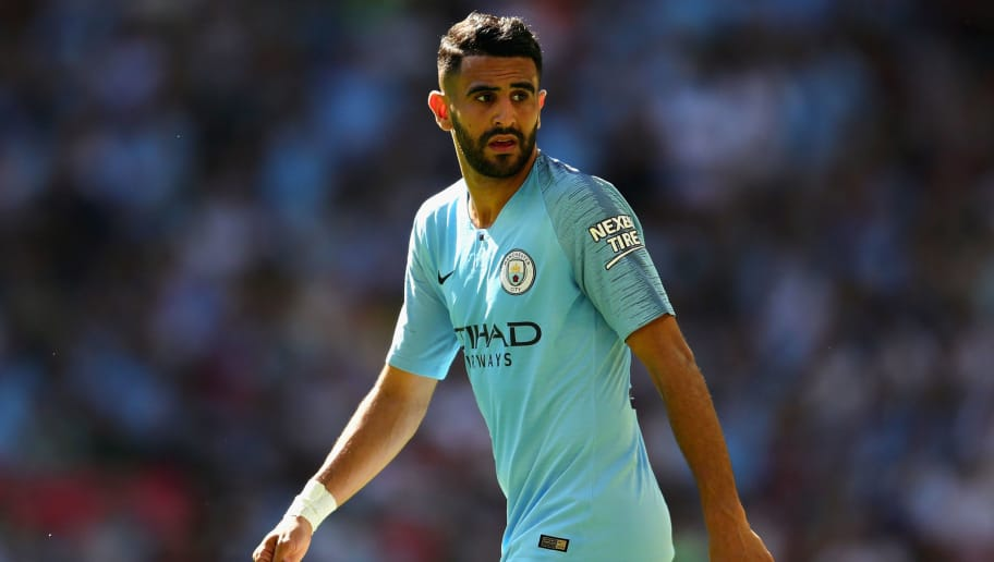 LONDON, ENGLAND - AUGUST 05:  Riyad Mahrez of Manchester City looks on during the FA Community Shield match between Manchester City and Chelsea at Wembley Stadium on August 5, 2018 in London, England.  (Photo by Chris Brunskill/Fantasista/Getty Images)