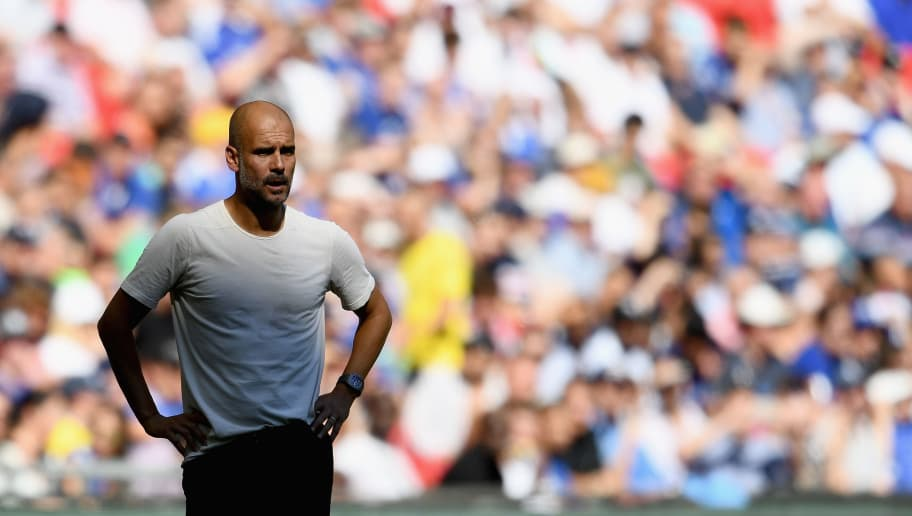 LONDON, ENGLAND - AUGUST 05:  Pep Guardiola of Manchester City looks on during the FA Community Shield match between Manchester City and Chelsea at Wembley Stadium on August 5, 2018 in London, England.  (Photo by Clive Mason/Getty Images)