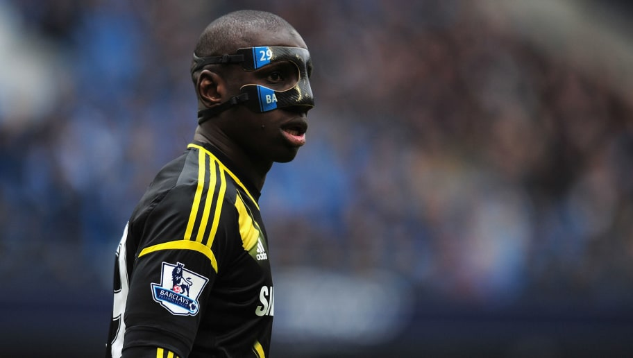 MANCHESTER, ENGLAND - FEBRUARY 24:  Demba Ba of Chelsea wears a protective mask during the Barclays Premier League match between Manchester City and Chelsea at Etihad Stadium on February 24, 2013 in Manchester, England.  (Photo by Shaun Botterill/Getty Images)