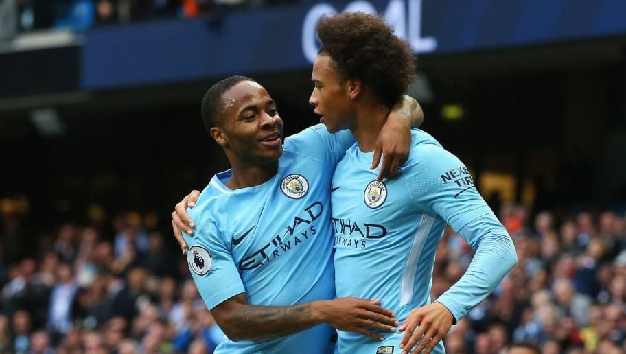 MANCHESTER, ENGLAND - SEPTEMBER 23:  Raheem Sterling (L) of Manchester City celebrates scoring his sides second goal with his team mate Leroy Sane (R) during the Premier League match between Manchester City and Crystal Palace at Etihad Stadium on September 23, 2017 in Manchester, England.  (Photo by Alex Livesey/Getty Images)