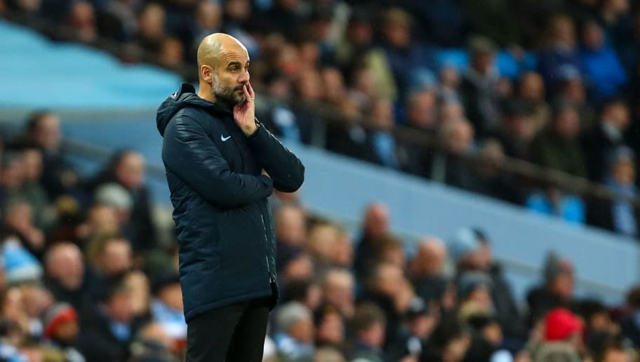 MANCHESTER, ENGLAND - DECEMBER 22: A dejected Pep Guardiola the head coach / manager of Manchester City  looks on during the Premier League match between Manchester City and Crystal Palace at Etihad Stadium on December 22, 2018 in Manchester, United Kingdom. (Photo by Robbie Jay Barratt - AMA/Getty Images)