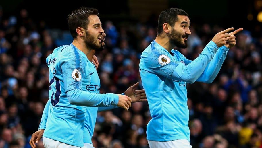 MANCHESTER, ENGLAND - DECEMBER 22: Ilkay Gundogan of Manchester City celebrates after scoring a goal to make it 1-0 during the Premier League match between Manchester City and Crystal Palace at Etihad Stadium on December 22, 2018 in Manchester, United Kingdom. (Photo by Robbie Jay Barratt - AMA/Getty Images)