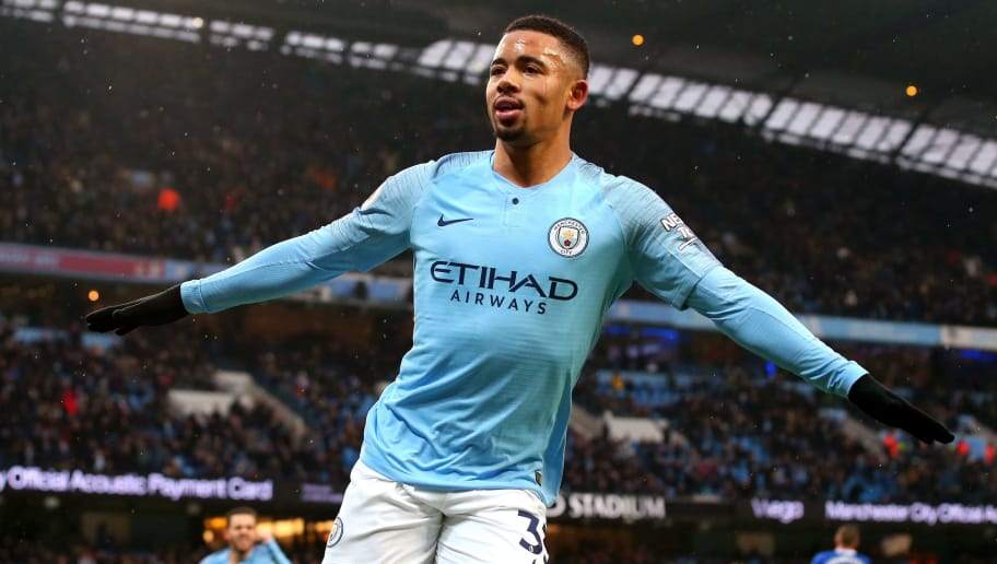 MANCHESTER, ENGLAND - DECEMBER 15:  Gabriel Jesus of Manchester City celebrates after scoring his team's first goal during the Premier League match between Manchester City and Everton FC at Etihad Stadium on December 15, 2018 in Manchester, United Kingdom.  (Photo by Alex Livesey/Getty Images)