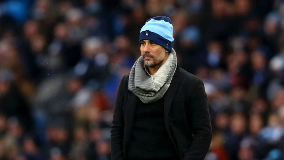 MANCHESTER, ENGLAND - DECEMBER 15:  Josep Guardiola, Manager of Manchester City looks on during the Premier League match between Manchester City and Everton FC at Etihad Stadium on December 15, 2018 in Manchester, United Kingdom.  (Photo by Clive Brunskill/Getty Images)