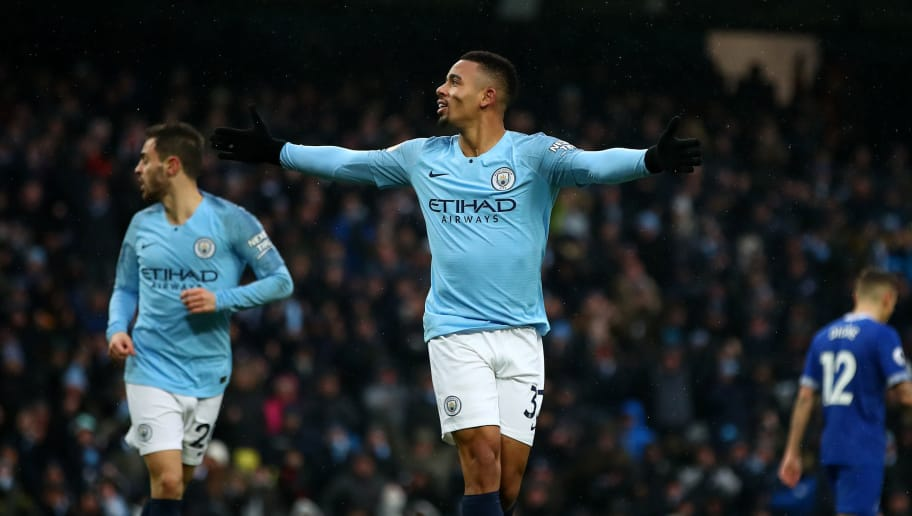 MANCHESTER, ENGLAND - DECEMBER 15:  Gabriel Jesus of Manchester City celebrates after scoring his team's second goal  during the Premier League match between Manchester City and Everton FC at Etihad Stadium on December 15, 2018 in Manchester, United Kingdom. (Photo by Clive Brunskill/Getty Images)