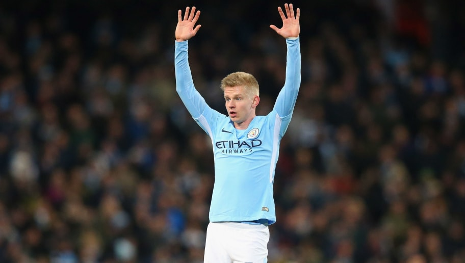 MANCHESTER, ENGLAND - MARCH 07:  Olexandr Zinchenko of Manchester City calls for the ball during the UEFA Champions League Round of 16 Second Leg match between Manchester City and FC Basel at Etihad Stadium on March 7, 2018 in Manchester, United Kingdom.  (Photo by Alex Livesey - Danehouse/Getty Images)