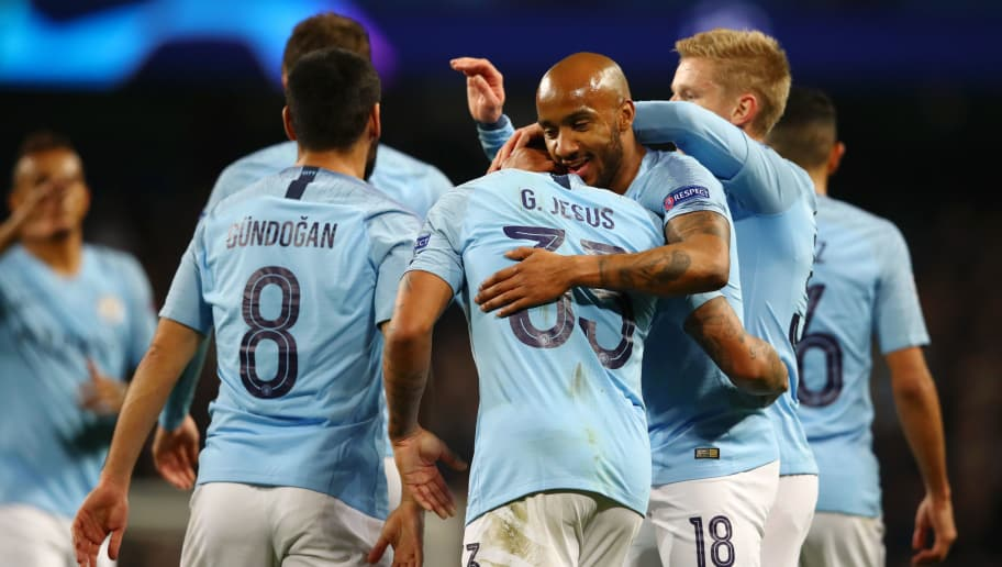 MANCHESTER, ENGLAND - NOVEMBER 07:  Gabriel Jesus of Manchester City celebrates after scoring his team's sixth and his hatrick goal with Fabian Delph of Manchester City during the Group F match of the UEFA Champions League between Manchester City and FC Shakhtar Donetsk at Etihad Stadium on November 7, 2018 in Manchester, United Kingdom.  (Photo by Clive Brunskill/Getty Images)