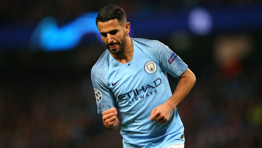 MANCHESTER, ENGLAND - NOVEMBER 07:  Riyad Mahrez of Manchester City celebrates after scoring their fifth goal during the UEFA Champions League Group F match between Manchester City and FC Shakhtar Donetsk at Etihad Stadium on November 7, 2018 in Manchester, United Kingdom.  (Photo by Alex Livesey - Danehouse/Getty Images)
