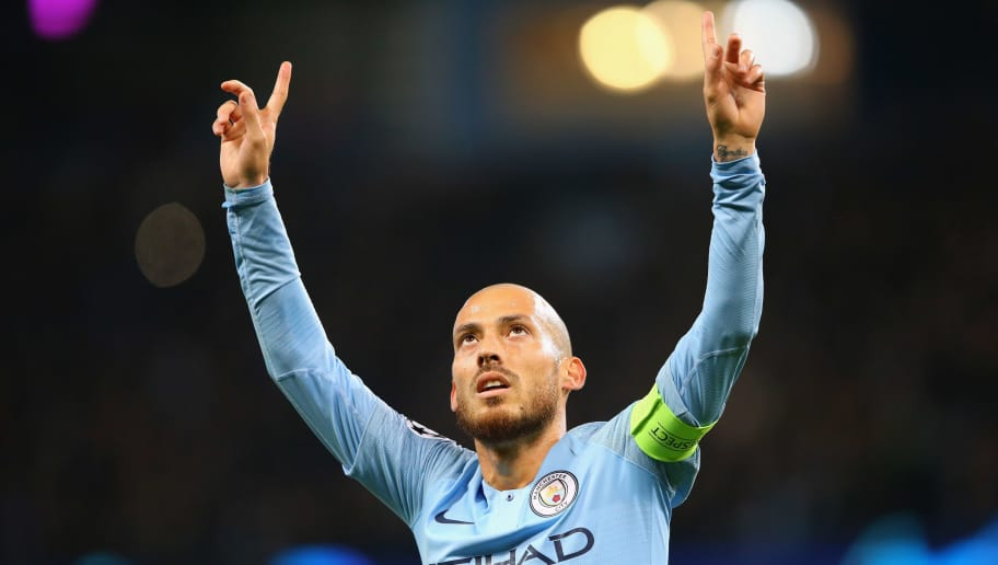 MANCHESTER, ENGLAND - NOVEMBER 07:  David Silva of Manchester City celebrates after scoring the opening goal during the UEFA Champions League Group F match between Manchester City and FC Shakhtar Donetsk at Etihad Stadium on November 7, 2018 in Manchester, United Kingdom.  (Photo by Alex Livesey - Danehouse/Getty Images)