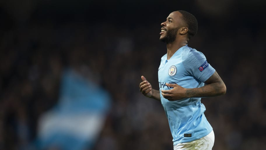 MANCHESTER, ENGLAND - NOVEMBER 07: Raheem Sterling of Manchester City celebrates scoring during the Group F match of the UEFA Champions League between Manchester City and FC Shakhtar Donetsk at Etihad Stadium on November 7, 2018 in Manchester, United Kingdom. (Photo by Visionhaus/Getty Images)